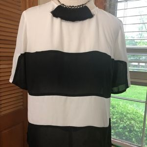 Worthington Petite sheer stripe short sleeve top